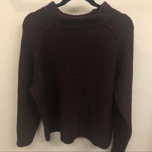 Free People Burgundy Mock Neck Sweater
